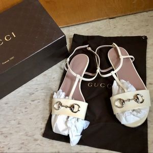 Gucci sandals flat beige 37 7 white